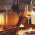 Pumpkin table setting candles