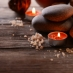 spa with stones and candles