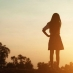 Silouette of girl at sunset