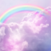 A rainbow in pink clouds