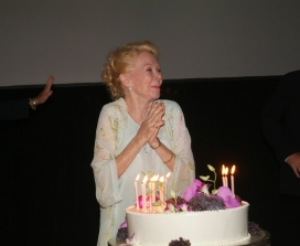 Louise Hay with Birthday Cake