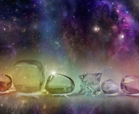 Crystals set against a deep space background