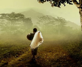 A man walking in nature
