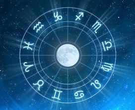The moon surrounded by astrological symbols