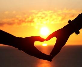 heart in sunset