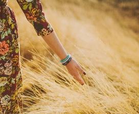 A woman in a cornfield