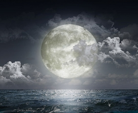 The moon over water