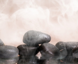 Hot stones in a sauna