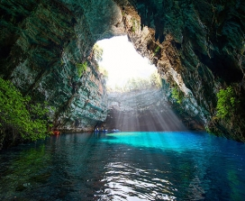 A beautifully-lit cave