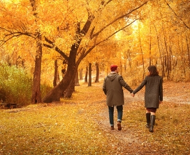 A couple walking in a park