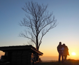 silouette of couple at sunset
