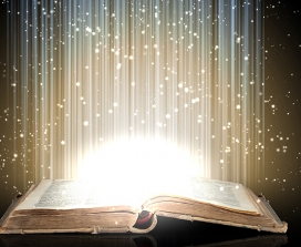 A mystical tome with light emmanating from within