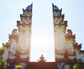Meditation at a temple in Bali
