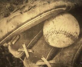 old baseball mitt and glove