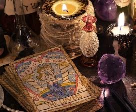 Tarot cards on an altar