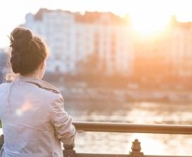 Woman on riverfront