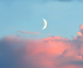 A new moon behind pink clouds