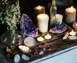 Crystals on an altar
